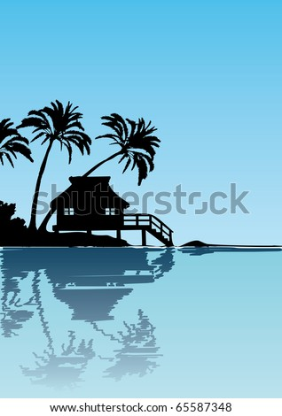 Illustration of a cottage with palm trees close to the beach