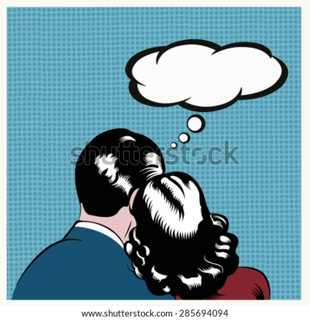 Illustration of a couple embracing  in a pop art,comic style - stock vector