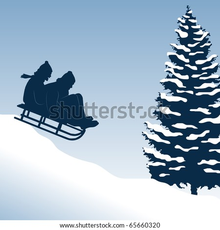 Illustration of a couple having fun on a sled