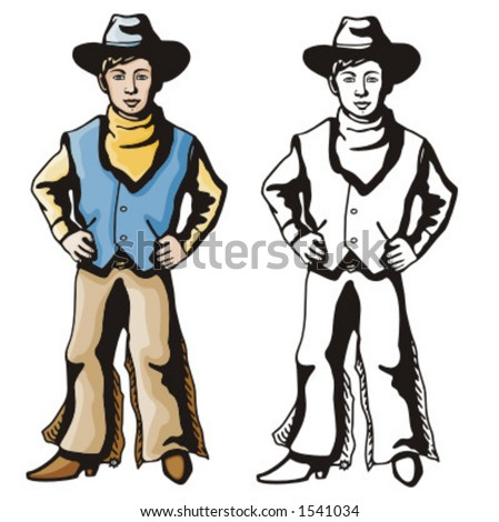 Illustration of a cowboy kid holding a horse toy.