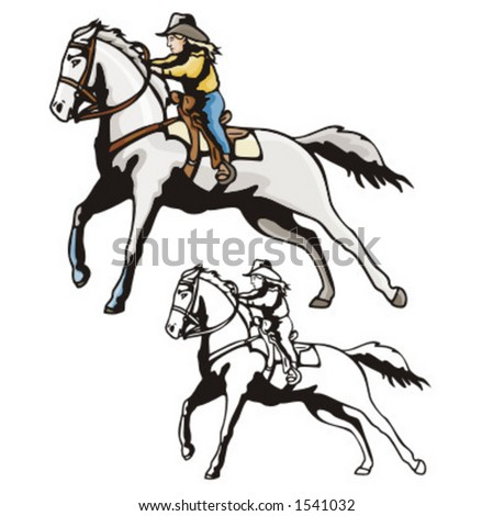 Illustration of a cowboy kid riding a horse.