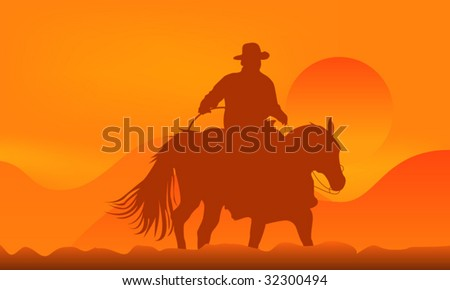 Illustration of a cowboy over sunset in mountains - stock vector