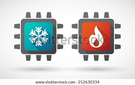 Illustration of a CPU icon set with fire and ice signs - stock vector