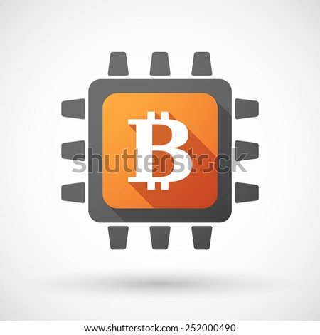 Illustration of a CPU icon with a bitcoin sign - stock vector