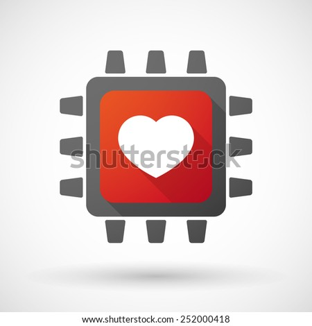 Illustration of a CPU icon with a heart - stock vector