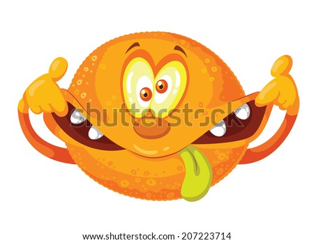 illustration of a crazy orange - stock vector