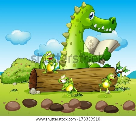 Illustration of a crocodile and the three playful frogs
