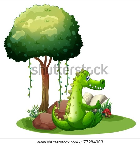 Illustration of a crocodile reading beside the tree on a white background