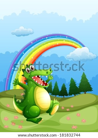 Illustration of a crocodile walking and a rainbow in the sky - stock vector