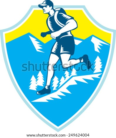 Illustration of a cross country runner running viewed from the side set inside shield crest with mountains and trees in the background done in retro style.