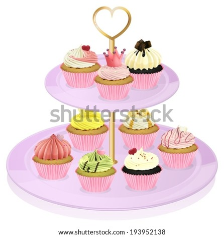 Illustration of a cupcake stand with cupcakes on a white background - stock vector