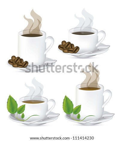 Illustration of a cups of steaming coffee and tea on plate, vector illustration - stock vector