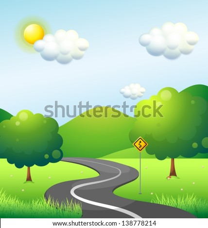 Illustration of a curve road with a curve sign along the mountain - stock vector