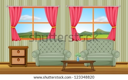 Illustration of a cushion chairs and side table in a room - stock vector