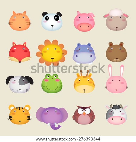 Illustration of a cute animal head - stock vector