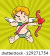 Illustration of a cute Cupid preparing to shoot, Vector - stock vector