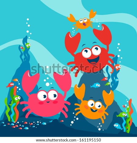Illustration of a cute family of crabs playing happily underwater. - stock vector