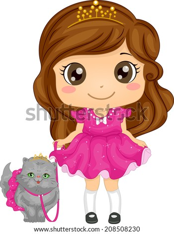Illustration of a Cute Girl Dressed as a Princess Taking Her Persian Cat for a Walk - stock vector