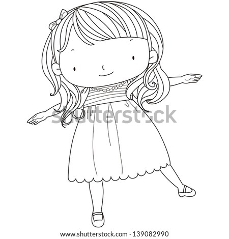 illustration of a cute girl playing.black & white line. - stock vector