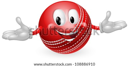 Illustration of a cute happy cricket ball mascot man