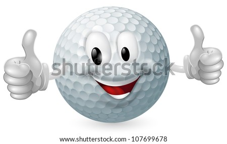 Illustration of a cute happy golf ball mascot man smiling and giving a thumbs up - stock vector
