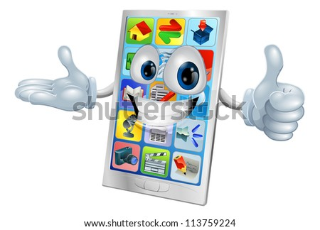 Illustration of a cute happy mobile phone person - stock vector