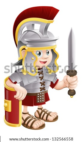 Illustration of a cute happy Roman soldier holding a sword and a shield - stock vector