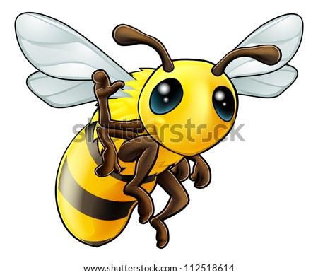 Illustration of a cute happy waving cartoon bee character - stock vector