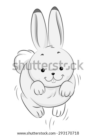 Illustration of a Cute Hare in the Middle of Jumping