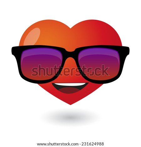 Illustration of a cute heart avatar wearing glasses