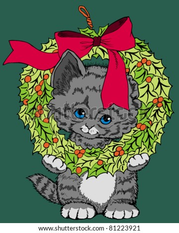illustration of a cute kitten - stock vector