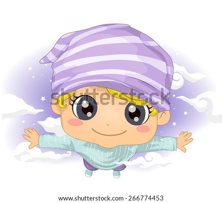 Illustration of a Cute Little Boy Flying in His Dreams