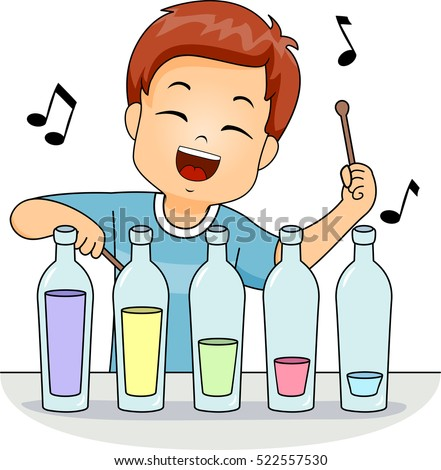 Illustration of a Cute Little Boy Playing with an Improvised Xylophone Made of Glass Bottles