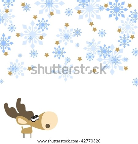 illustration of a cute little deer, looking at a snowfall - stock vector