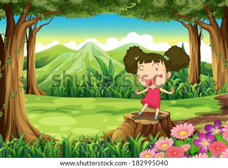Illustration of a cute little girl above the stump at the forest - stock vector