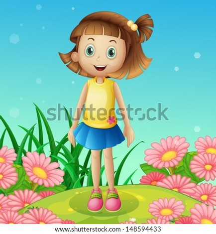 Illustration of a cute little girl at the hilltop surrounded with flowers