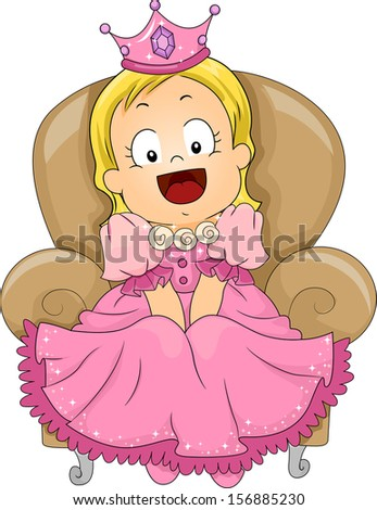 Illustration of a Cute Little Girl Dressed in a Princess Costume - stock vector
