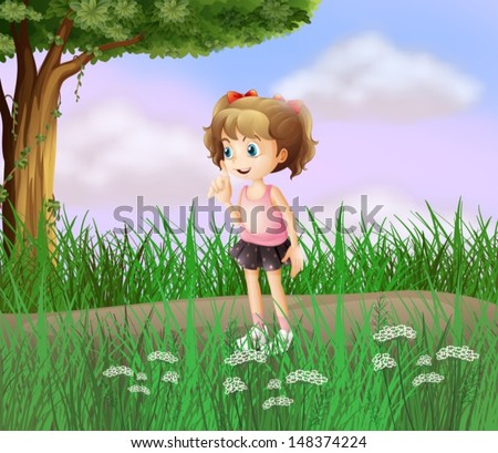 Illustration of a cute little girl walking in the street - stock vector
