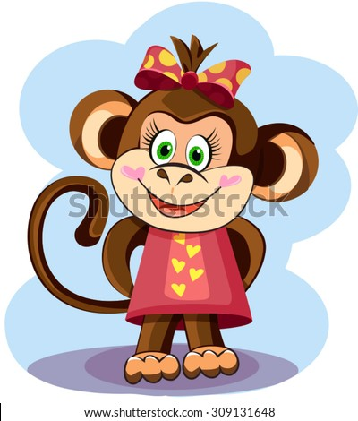 illustration of a cute monkey girl in a dress - stock vector
