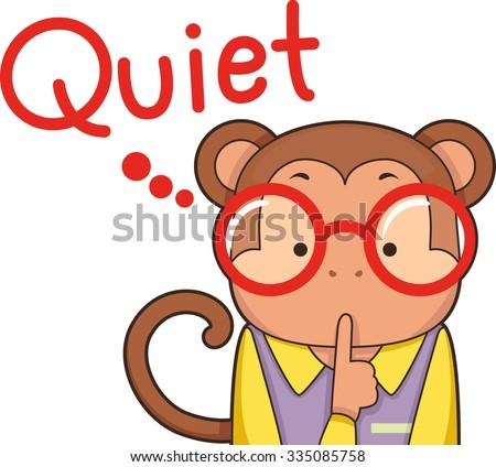 Illustration of a Cute Monkey Shushing Kids Down - stock vector