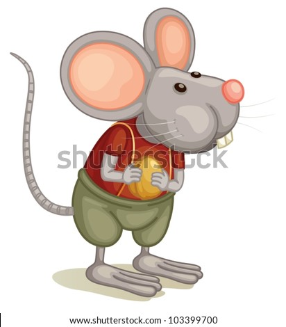 Illustration of a cute mouse - stock vector