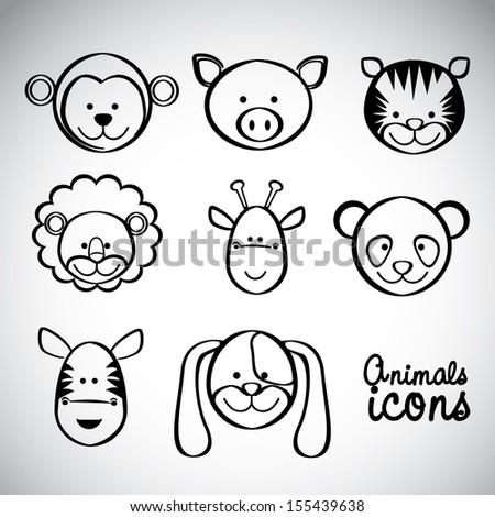 ... , giraffe, panda, zebra and dog, vector illustration - stock vector