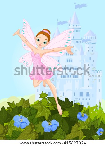 Illustration of a cute pink fairy in flight - stock vector
