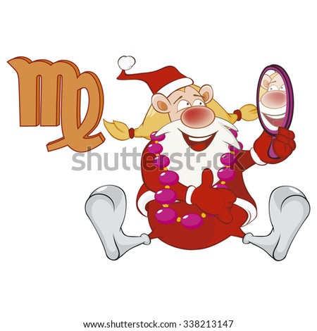 Illustration of a Cute Santa Claus. Astrological Sign in the Zodiac Virgo. Cartoon Character.