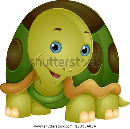 Illustration of a Cute Smiling Turtle with its Head Partly Tilted to the Side