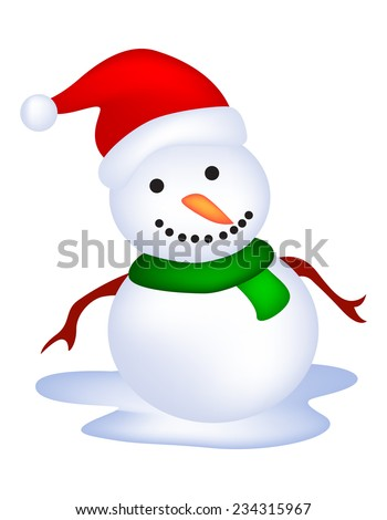 Illustration of a cute snowman isolated on white background
