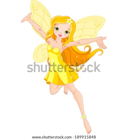 Illustration of a cute yellow fairy in flight - stock vector