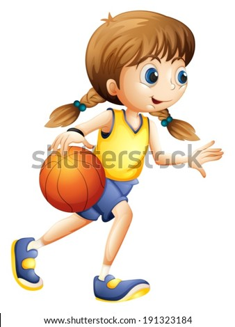 Illustration of a cute young lady playing basketball on a white background - stock vector