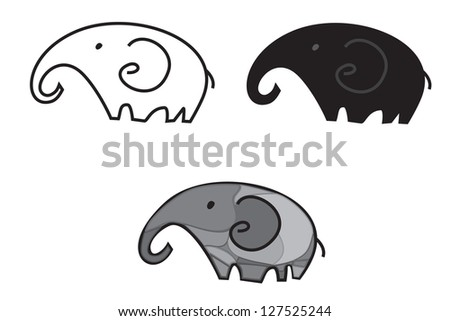 Illustration of a cute, young three elephants - stock vector