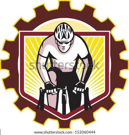 Illustration of a cyclist riding racing bicycle cycling front view done in retro style set inside sprocket gear cog on isolated white background.